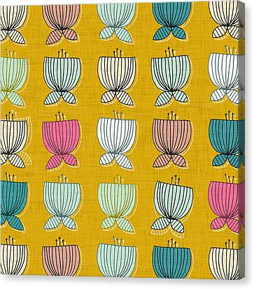 Flower Cups Yellow Canvas Print by Sharon Turner