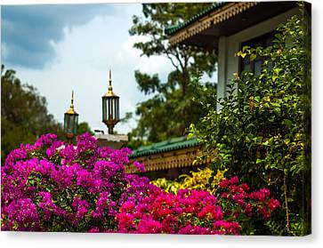 Flower Decoration Of Golden Temple Of Dambulla Canvas Print by Jenny Rainbow