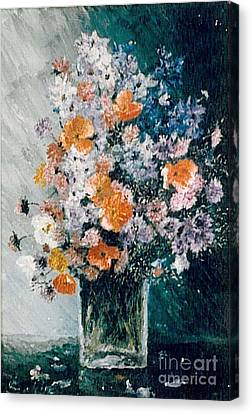 Canvas Print featuring the painting Flower Field by Sorin Apostolescu