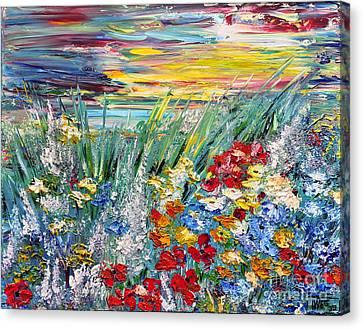 Canvas Print featuring the painting Flower Field by Teresa Wegrzyn