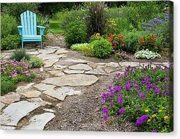 Perennial Canvas Print - Flower Garden With Path And Blue Chair by Richard and Susan Day