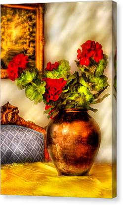 Flower - Geraniums On A Table  Canvas Print by Mike Savad