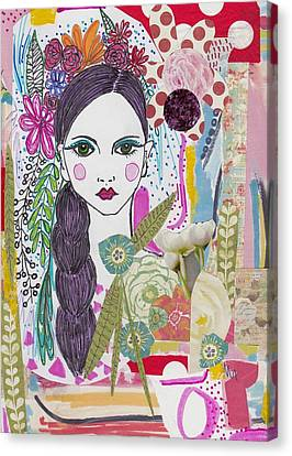 Watercolor With Pen Canvas Print - Flower Girl Collage by Rosalina Bojadschijew