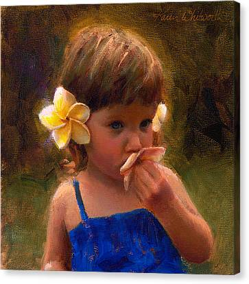 Flower Girl - Tropical Portrait With Plumeria Flowers Canvas Print by Karen Whitworth