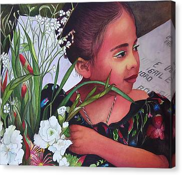 Flower Girl On Dia De Los Muertos Canvas Print