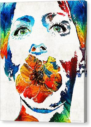 Flower Girl Self Portrait By Sharon Cummings Canvas Print by Sharon Cummings