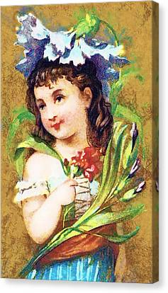 Flower Girl Canvas Print by Vintage Trading Cards
