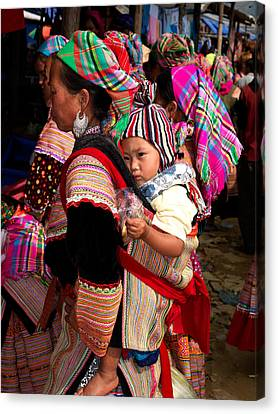 Flower Hmong Woman Carrying Baby Canvas Print by Panoramic Images