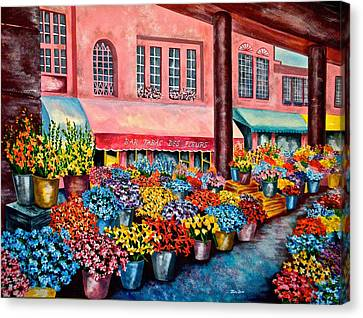 Flower Market In Nice France Canvas Print by Jan Law