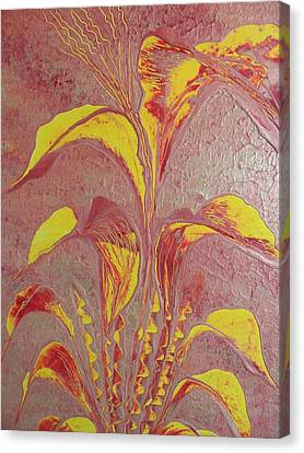 Canvas Print featuring the painting Flower by Nico Bielow