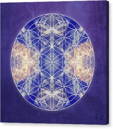 Flower Of Life Blue Canvas Print by Filippo B