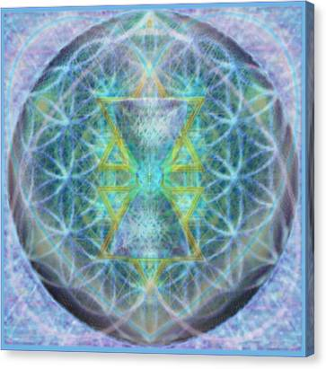 Flower Of Life Forested Chalice In Subtle Bluelavs Canvas Print by Christopher Pringer