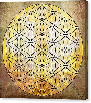 Yantra Canvas Print - Flower Of Life Gold by Filippo B