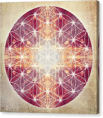 Flower Of Life Magenta Canvas Print by Filippo B