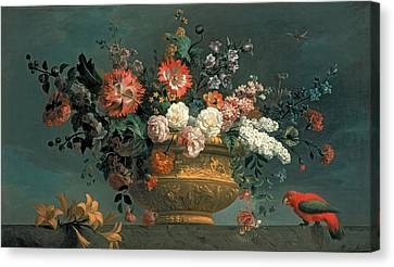 Flower Piece With Parrot Canvas Print