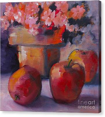 Flower Pot And Apples Canvas Print by Michelle Abrams