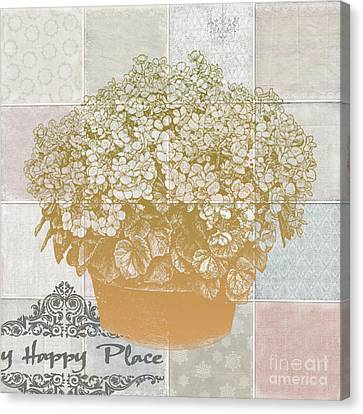 Flower Pot With Beautiful Checked Vintage Background And My Happy Place Script Canvas Print by Art World