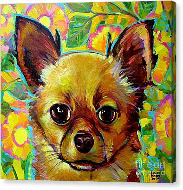 Canvas Print featuring the painting Flower Power Chihuahua by Robert Phelps