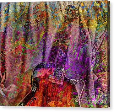 Flower Power Digital Guitar Art By Steven Langston Canvas Print by Steven Lebron Langston