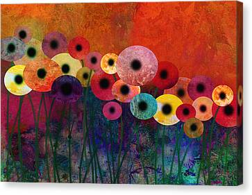 Flower Power Five Abstract Art Canvas Print by Ann Powell