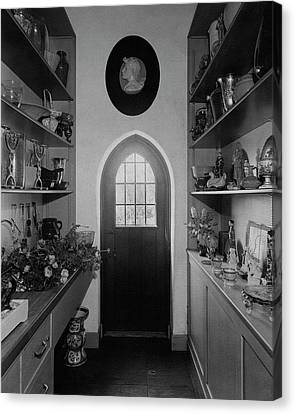 Flower Room In The Home Of Mrs. Charles Wheeler Canvas Print by Peter Nyholm & F.S. Lincoln