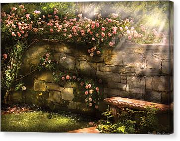 Flower - Rose - In The Rose Garden  Canvas Print by Mike Savad