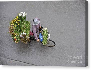 Flower Seller In Street Of Hanoi Canvas Print by Sami Sarkis