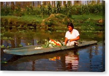 Flower Seller Xochimilco Canvas Print by Spyder Webb