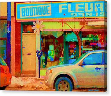 Flower Shop St Henri Boutique Fleuriste Window Notre Dame Ouest Montreal City Scene Carole Spandau Canvas Print by Carole Spandau