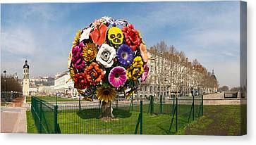 Flower Tree Sculpture At Place Antonin Canvas Print by Panoramic Images