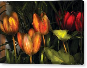 Flower - Tulip -  Orange Irene And Red  Canvas Print by Mike Savad