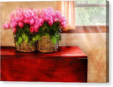 Flower - Tulips By A Window Canvas Print by Mike Savad