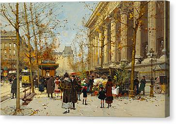 Flower Walk Canvas Print by Eugene Galien-Laloue