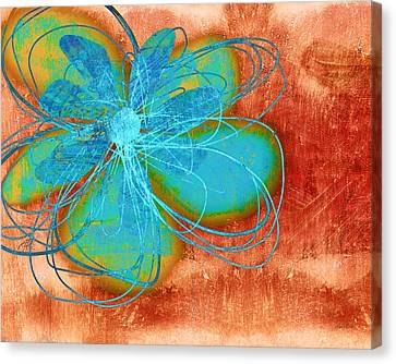 Flower  Whimsy In Blue Canvas Print by Ann Powell