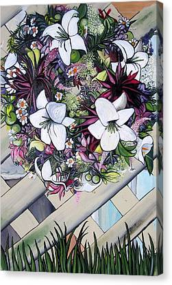 Floral Wreath Canvas Print by Mary Ellen Frazee