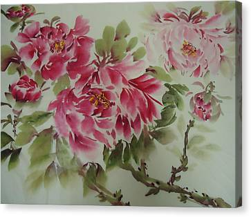 Canvas Print featuring the painting Flower0725-3 by Dongling Sun