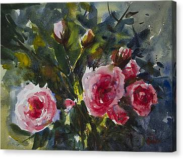 Canvas Print featuring the painting Flower_08 by Helal Uddin