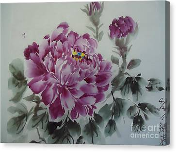 Canvas Print featuring the painting Flower427012-4 by Dongling Sun