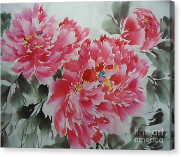Canvas Print featuring the painting Flower51012-4 by Dongling Sun