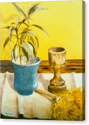 Flowerpot Goblet And Featherduster Canvas Print