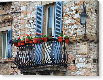 Canvas Print featuring the photograph Flowers 3- Assisi by Theresa Ramos-DuVon