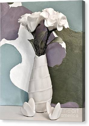 Flowers And Butterflies Canvas Print by Marsha Heiken