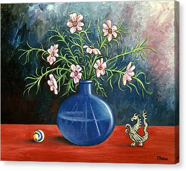 Flowers And Dragon Canvas Print by Linda Mears