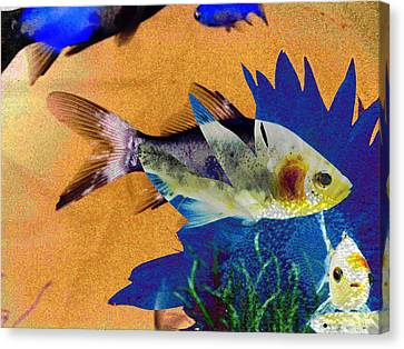 Flowers And Fins Canvas Print by Lenore Senior