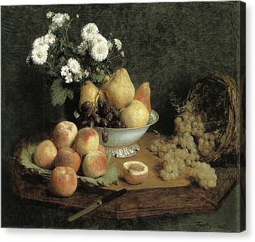 Flowers And Fruit On A Table Canvas Print by Henri Fantin-Latour