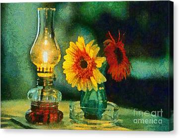 Flowers And Lamp Canvas Print by George Atsametakis