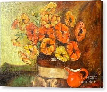 Flowers And Red Pitcher Canvas Print by Virginia Ann Hemingson