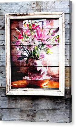 Flowers And Wood Canvas Print