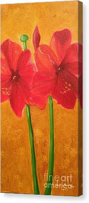 Canvas Print featuring the painting Flowers by Brindha Naveen