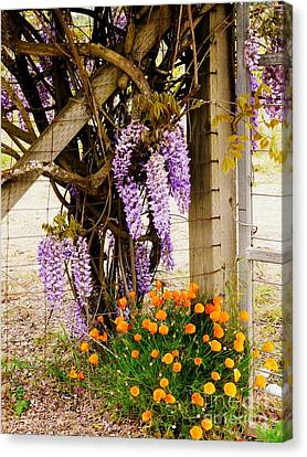 Flowers By The Gate Canvas Print by Avis  Noelle